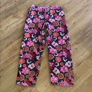 VERA BRADLEY Cropped pink Floral Pants SMALL